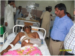 The wounded in hospital in Peshawar